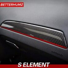 Interior do carro de fibra de carbono painel da porta adesivo guarnição capa copiloto painel guarnição etiqueta do carro e decalque para audi a4 2009-2016