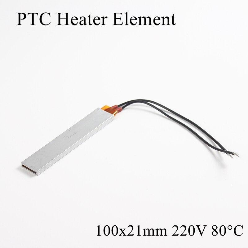 100x21mm 220V 80 grados Celsius aluminio PTC elemento calentador termostato constante termistor Sensor de calentamiento de aire Shell 100*21mm