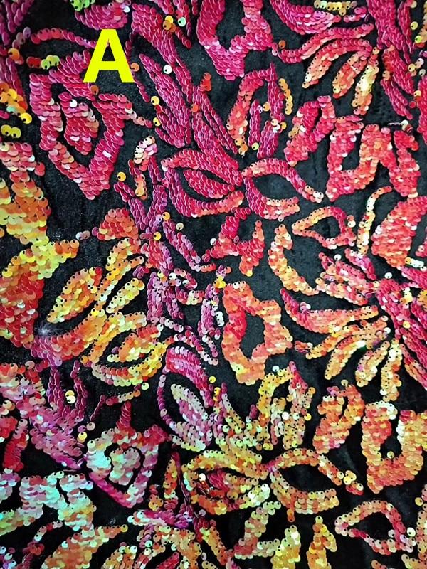 125-130 cm colorido deslumbrante flora folha motif tecido de lantejoulas deslumbrante, 7 cores disponíveis, XERY-SJ181022B