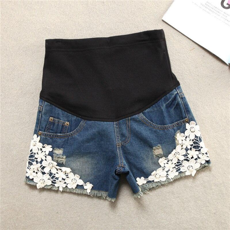 Summer Fashion New Pattern Maternity Shorts Lace Flower Pregnant Woman Denim Support Abdomen Shorts Big Size