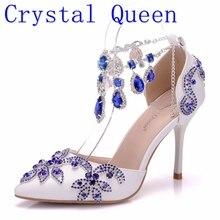 Cristal reine femmes pompes bleu diamant mariage chaussures talons hauts scène fête robe mariage Toast fête chaussures mariée sandales