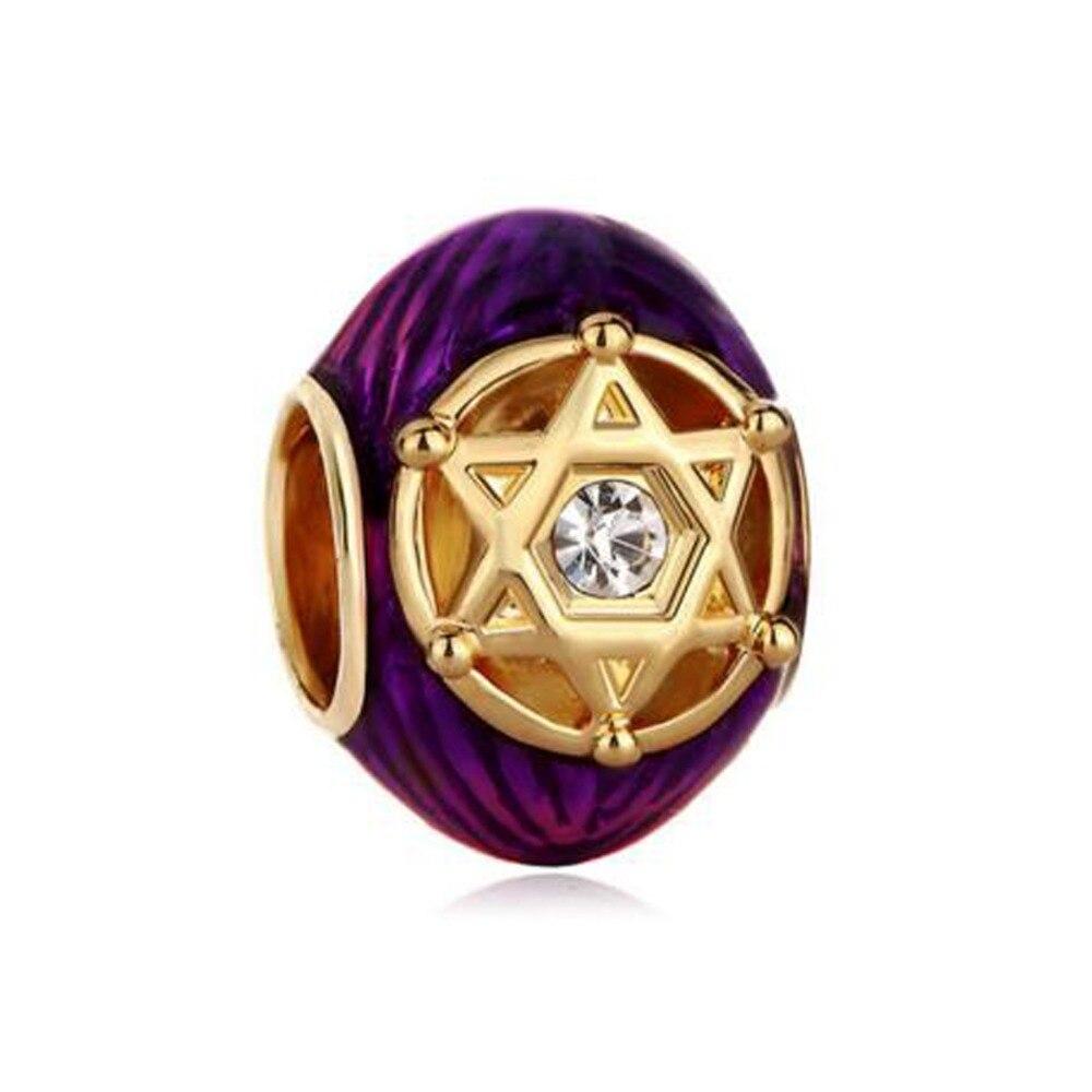 Envío Gratis cristal morado dorado en doble triángulos rayado estrella de David brazalete de Pandora
