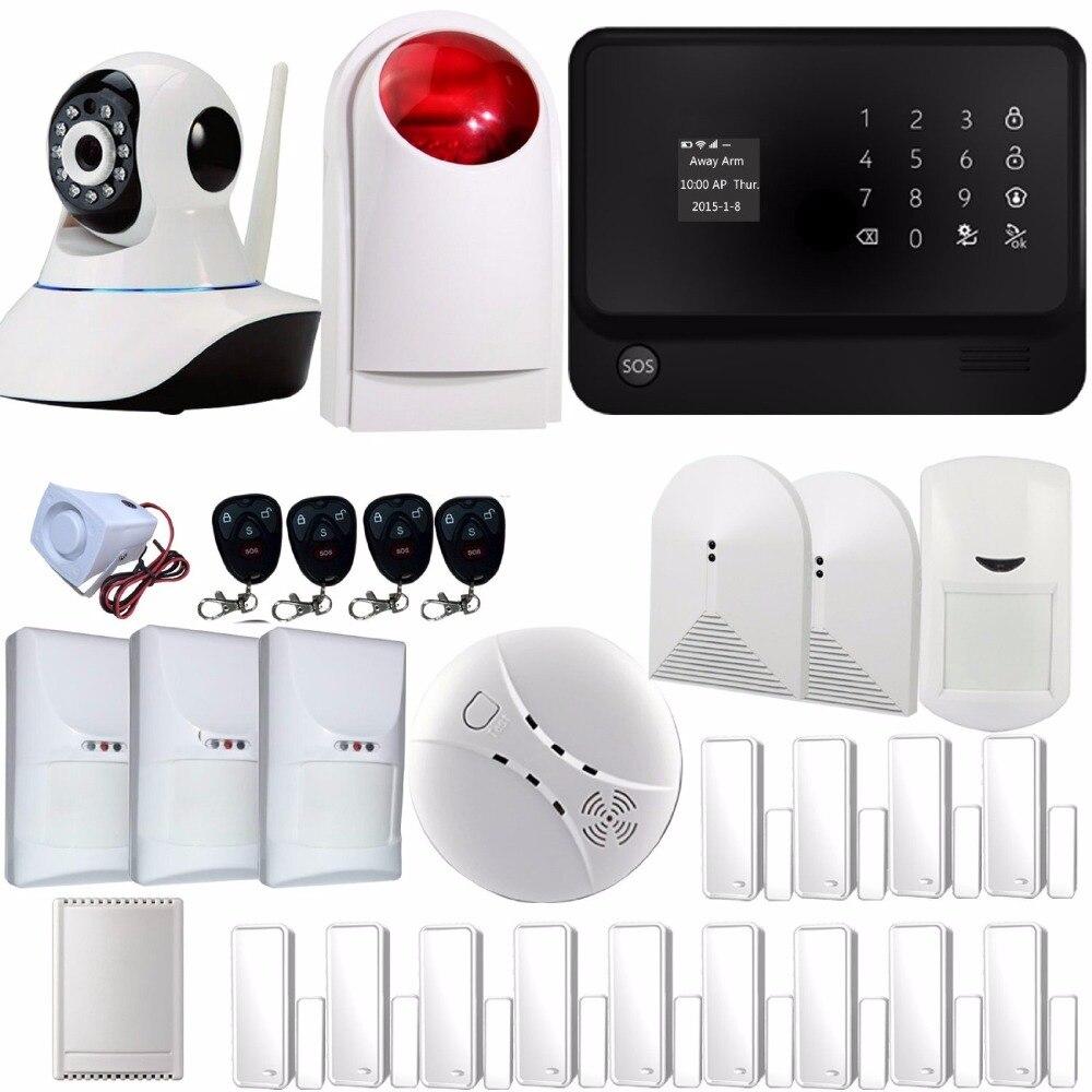 SmartYIBA WIFI GSM GPRS alarma G90B Plus cámara de red electrodomésticos Control de mascotas inmune PIR vidrio romper alarma de sirena estroboscópica