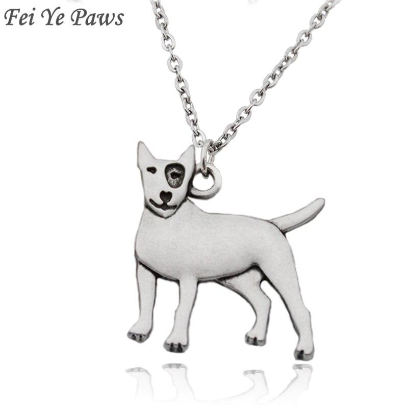 Colgantes de perro de patas Fei Ye Bull Terrier, collares con colgante llamativo para mujeres y hombres, Gargantilla de joyería de acero inoxidable para fiesta de cadena larga