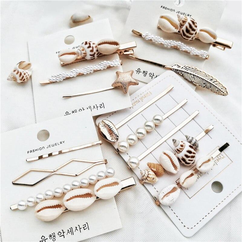 WENN MICH Mode Koreanische Perle Sea Shell Conch Haar Clip für Frauen Mädchen Braut Metall Haarnadel Haarspange Haar Zubehör Schmuck 2019