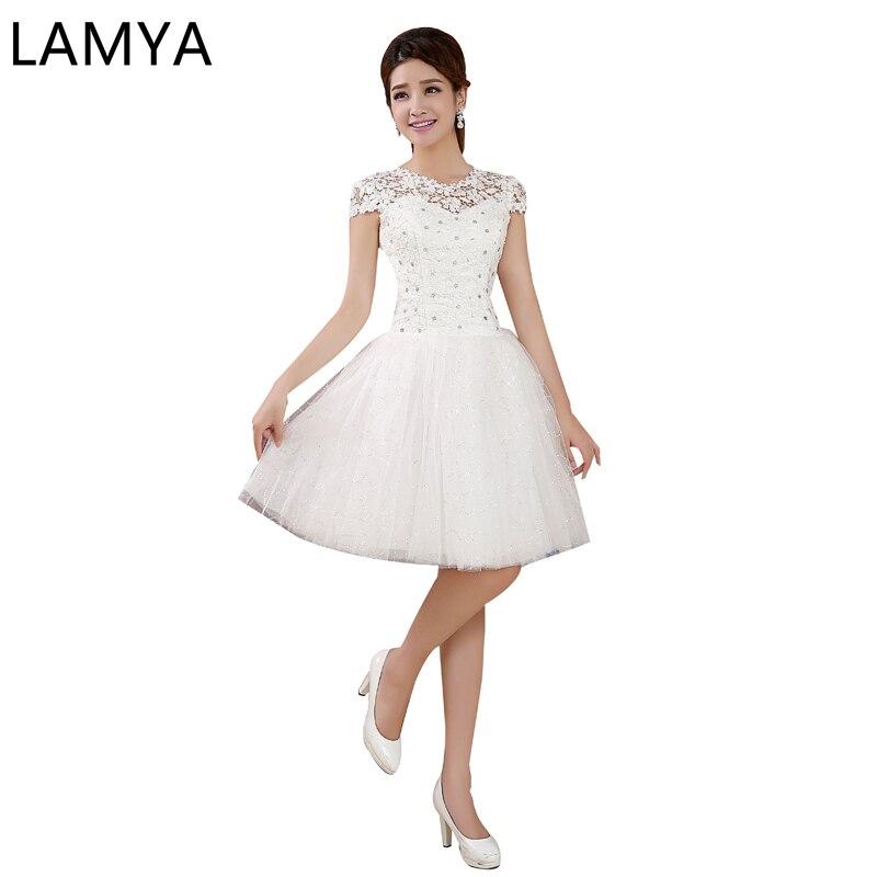 LAMYA-Vestido corto de boda con purpurina, bonito aplique de talla grande, longitud...