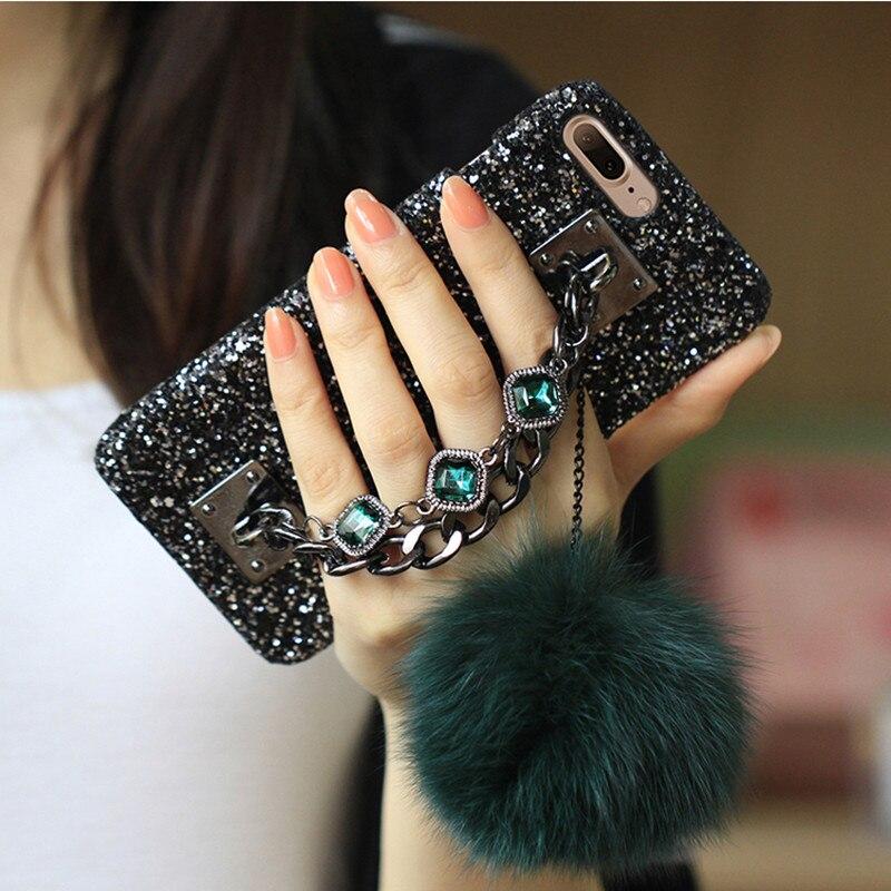 ONEPLANT Glitter Luxury Diamond Gem Bracelet Chain Tassel Fox Fur Ball Case Cover For iPhone 5S 6 6S 7 8 Plus X XR XS Max Case