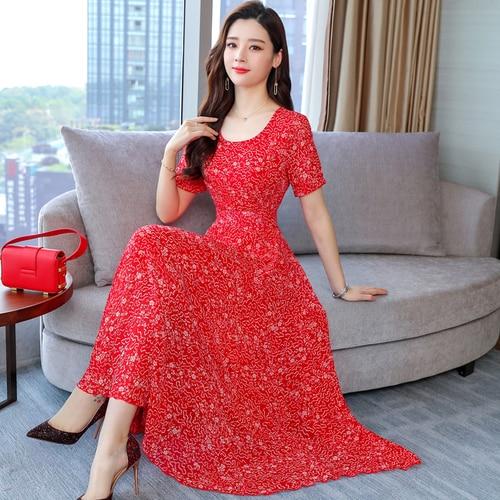 Spring Chiffon Fashion Printed Women Dress 2020 New Style Summer Short Sleeve Round Collar Xxx Female Slim Temperament Dresses