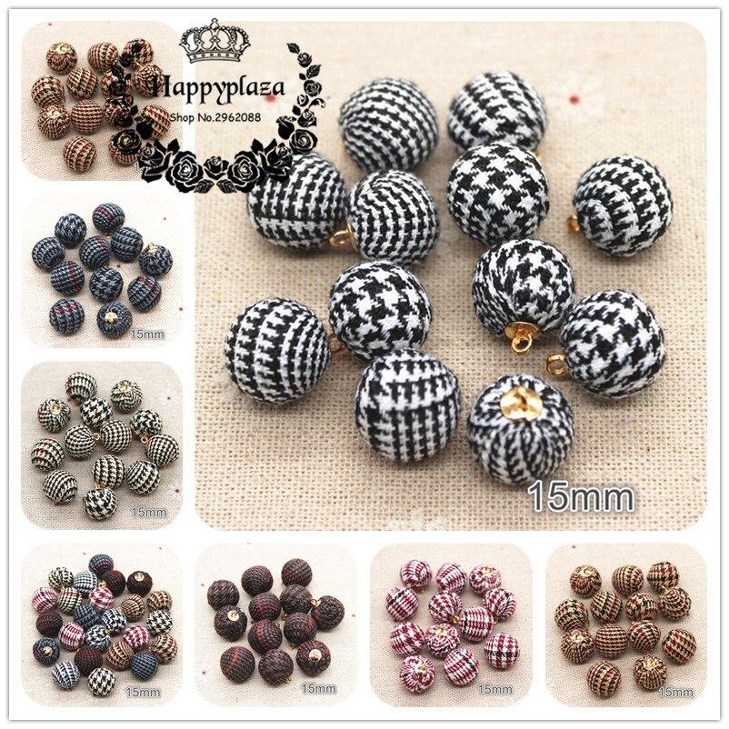 20 piezas 15mm golondrina tela cubierto cuentas redondas bola colgante DIY pendientes resultados gotas de oreja accesorios manuales