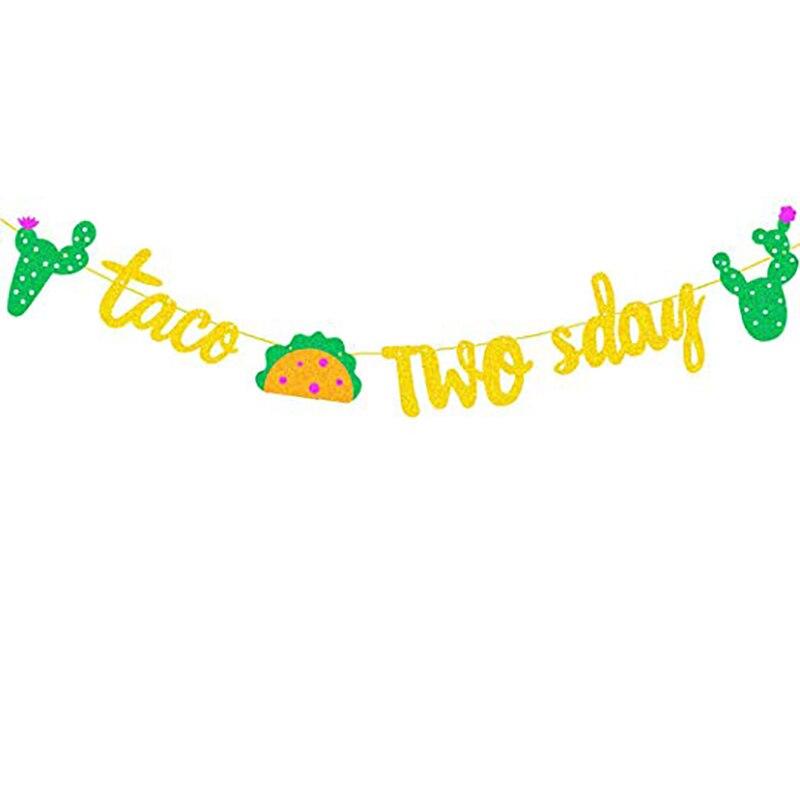 Taco TWOsday баннер для дня рождения Золотой блестящий знак гирлянда для мексиканской фиесты украшение для ребенка 2 дня рождения