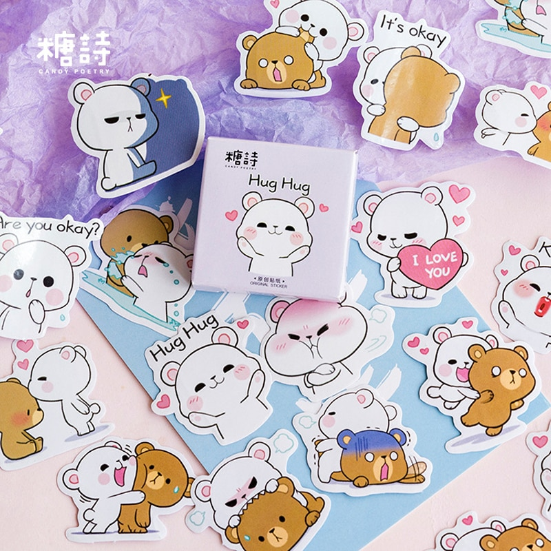 45pcs Vintage Cute Bear Paper Travel Diary Planner Decorative Mobile Stickers Scrapbooking Craft Stationery Stickers TZ176