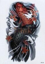 Tatouage temporaire étanche tatouages traditionnels chinois carpe poisson totem transfert deau faux tatouage Flash tatto pour femmes hommes