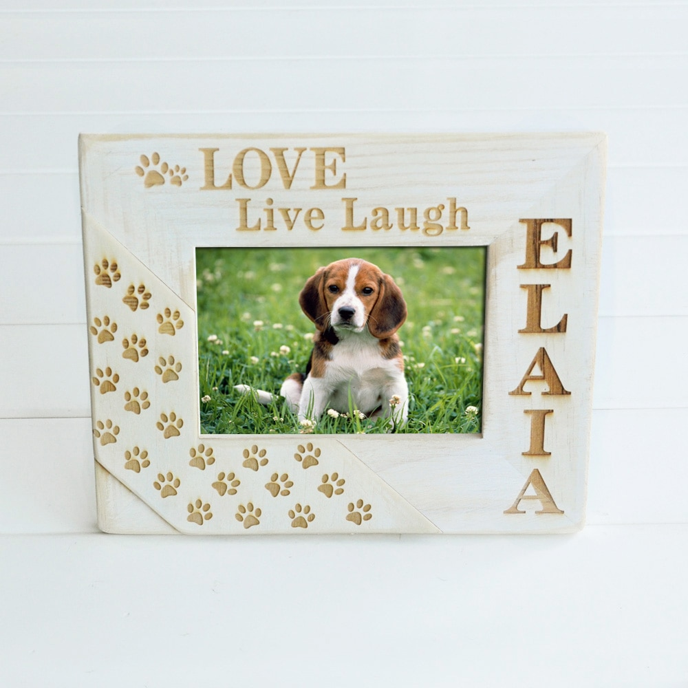 Personalize Pet Memorial Frame Pet Loss Frame Wood Engraved Frame Dog Paws Frame