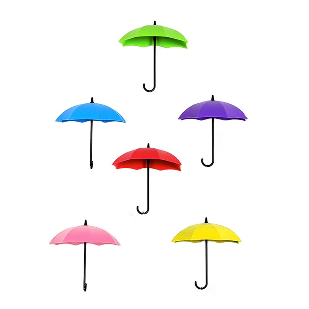 3 piezas de pared paraguas colorido decorativo suspensión llave gancho de pelo Pin soporte para casa tienda