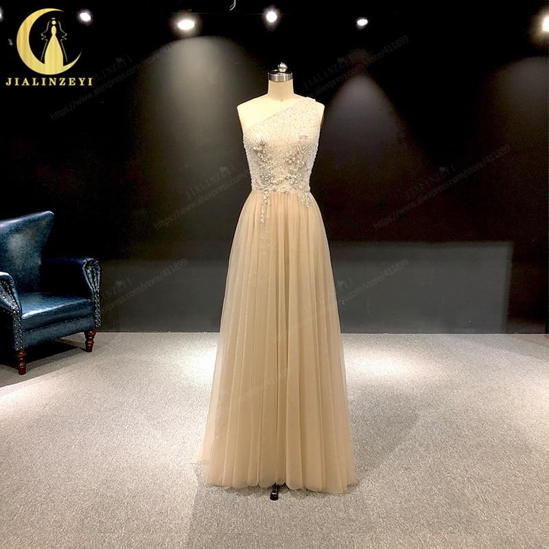 JIALINZEYI imagen Real de lujo un hombro champán con cuentas flores longitud del piso vestidos de noche formales vestido 2019