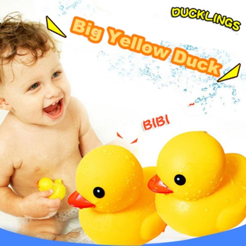 Divertido pato de agua BB juguete de baño Agua Squeeze Squeaky Reborn amarillo pato piscina playa Pump juguete divertido