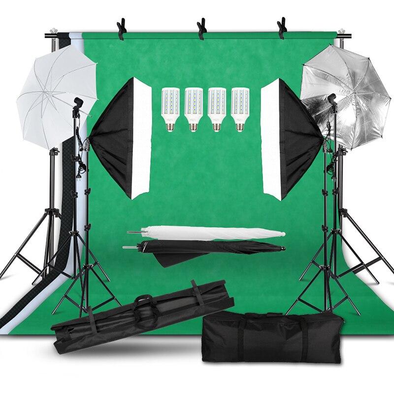 مجموعة سوفت بوكس مع نظام دعم الخلفية ، مجموعة إضاءة استوديو الصور والفيديو