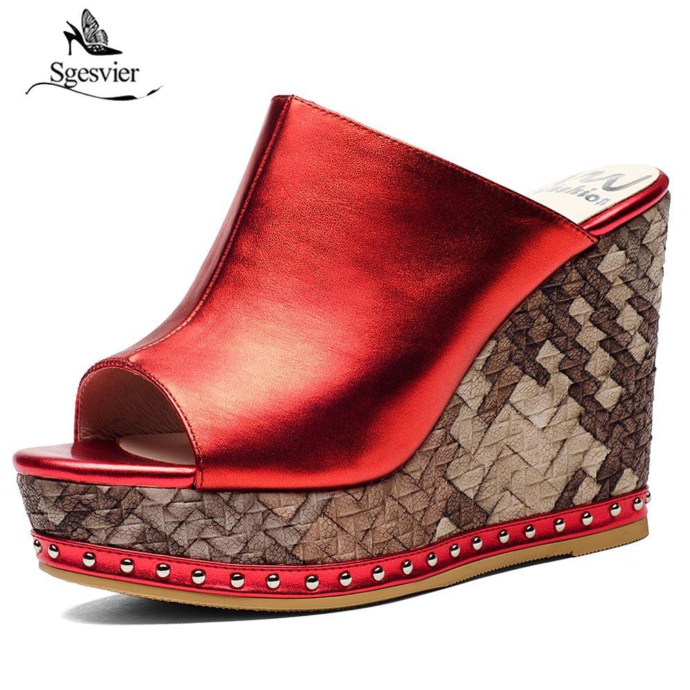 Sgesvier de calidad superior zapatos de plataforma zapatos de moda de verano zapatos de mujer Sandalias de cuero genuino Super tacones cuñas Zapatos de gran oferta OX434