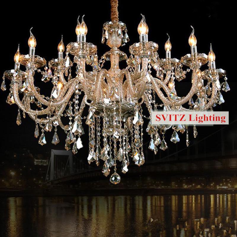 Bohemian antique cognac crystal chandeleir lustre light for parlor living room lamp vintage 12/15 pcs E14 Led candle chandeliers