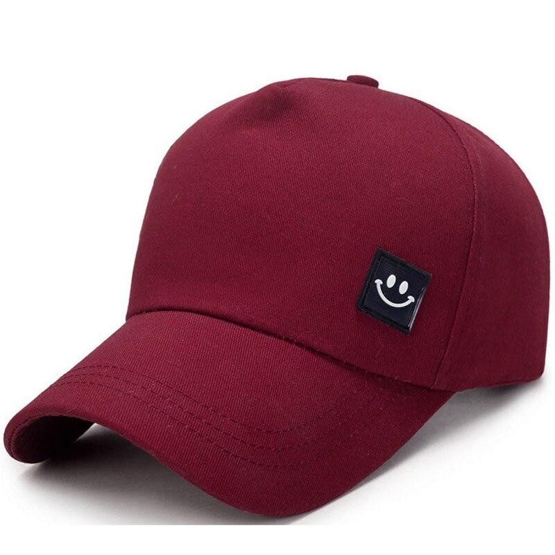 Nuevo estilo 5 Panel 100% gorro de algodón para papá cara sonriente gorra de béisbol para hombre gorra de sol para mujer vino rojo azul marino gris negro