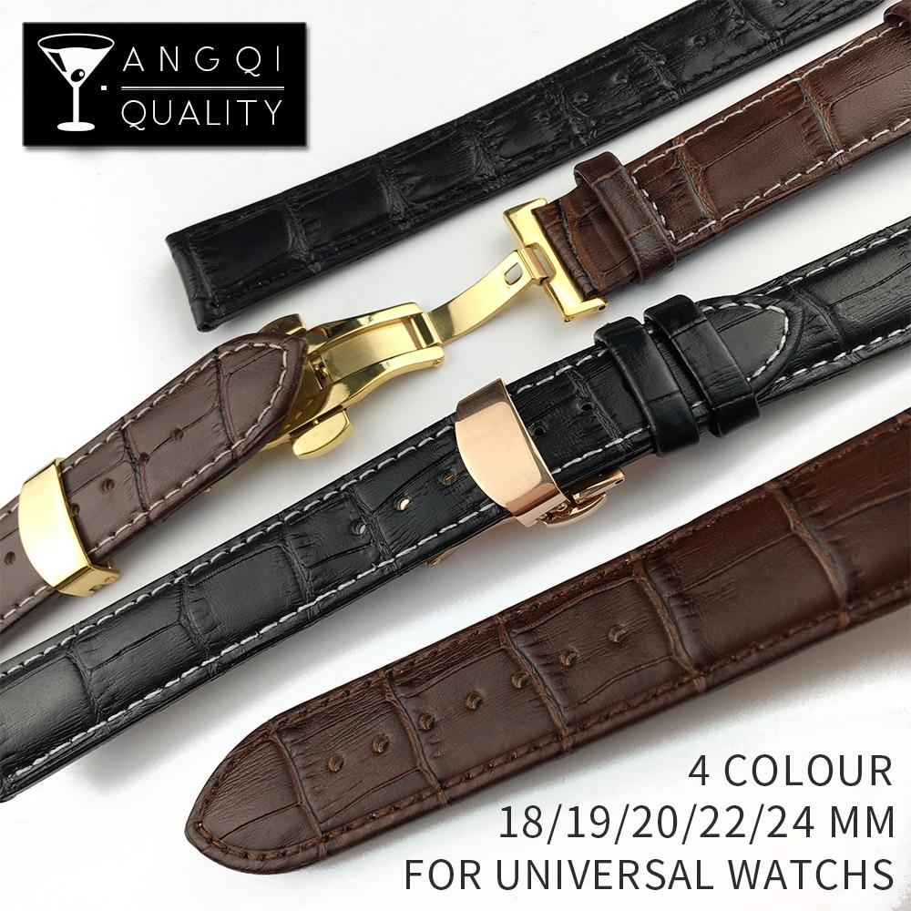 Correa de reloj de piel auténtica de Calfskin, accesorios para pulseras, oro rosa, hebilla de mariposa de 18mm, 19mm, 20mm, 22mm y 24mm