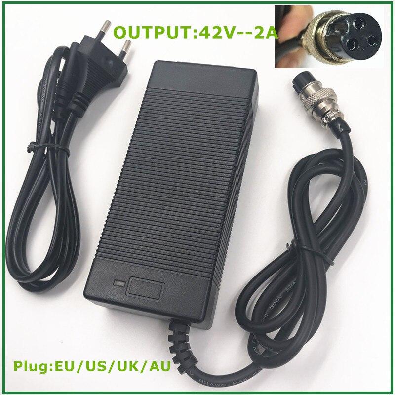 Cargador de batería de litio para bicicleta eléctrica de 36V y 36 a, paquete de batería de litio para patinete eléctrico XLR3, conector hembra de 3 pines, GX-16, 42V2A