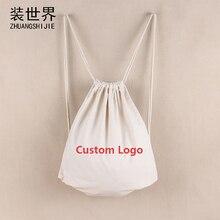 36 cm * 42 cm Logotipo Personalizado Impressão Mulheres Softback Mochila de Viagem Saco de Compras de Algodão Saco de Cordão Mochila Atacado BP032