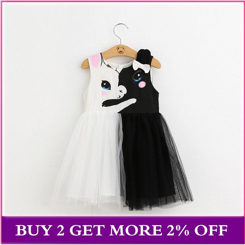 ¡NOVEDAD DE VERANO 2020! Vestidos para niñas, vestido de princesa con estampado de lazo de dibujos animados de gato blanco y negro, ropa para niños de 2-7 años