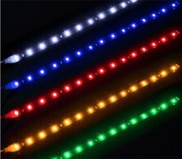 Светодиодная лента для автомобиля, мягкая Светодиодная лента для автомобиля, 30 см, декоративная лента для фар, синяя, зеленая, красная, желтая, белая, мягкая световая лента для автомобиля, дневной свет