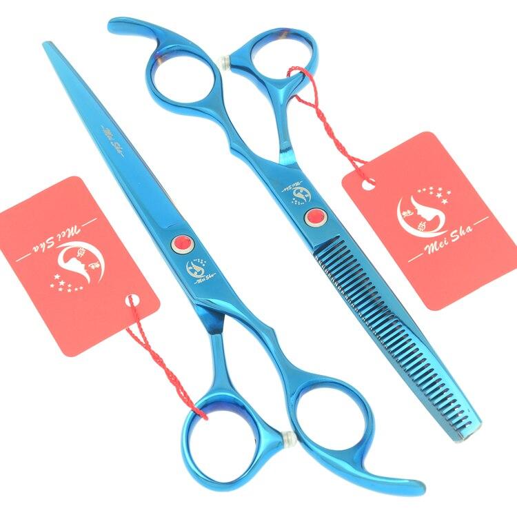 7,0 zoll Große Friseur Schneiden Schere 6,5 Zoll Ausdünnung Schere Salon Friseure JP440C Blau Haar Tesouras HA0364