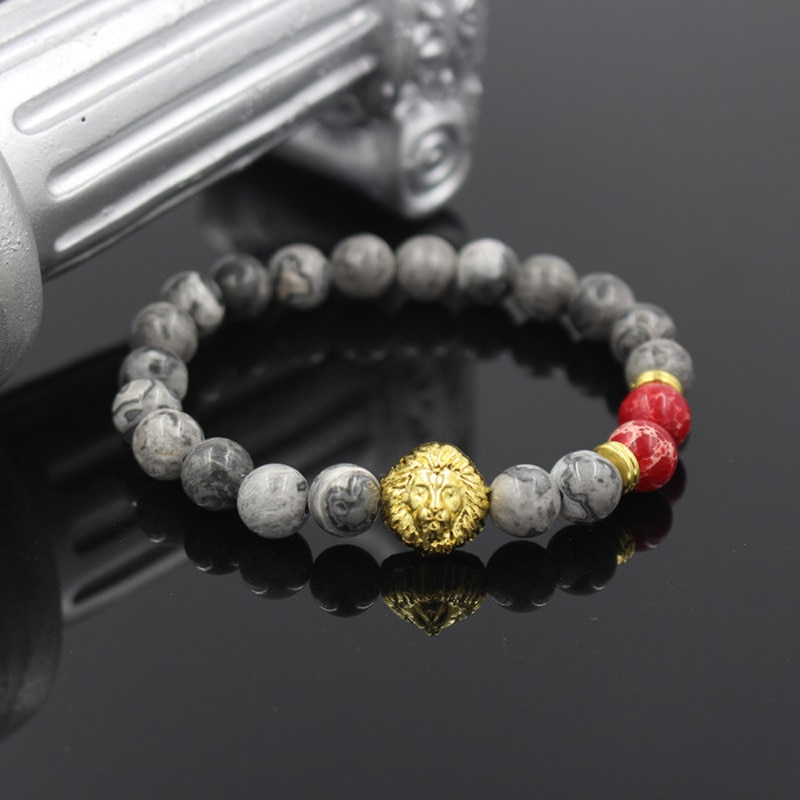 Jaspe gris Natural y Regalite rojo cuenta de piedra Leo cabeza de león encanto pulsera de cuerda elástica pulseras de cadena para mujeres/hombres joyería