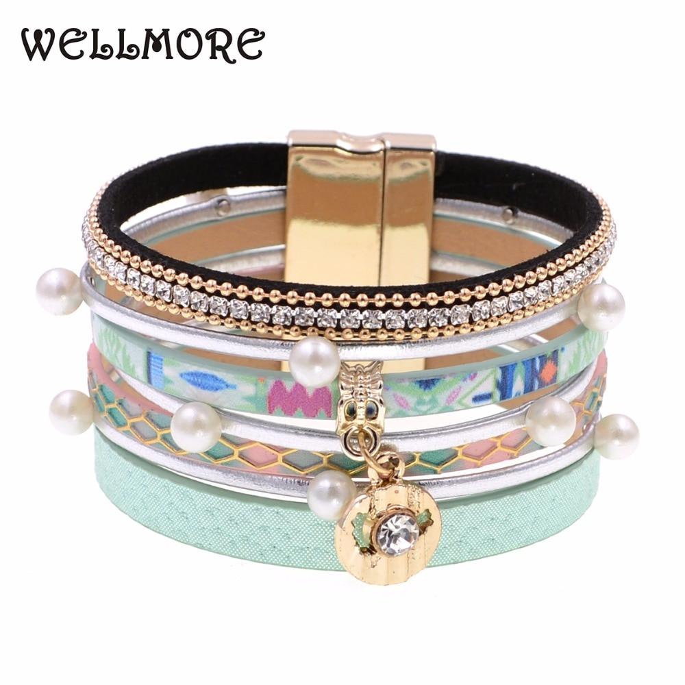 WELLMORE summer leather bracelet 6 colors charm bracelets Bohemian bracelets&bangles for women gift wholesale jewelry