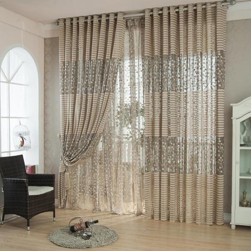 Moderno listrado voile cortinas design decoração janela cortinas de tule transparente para sala estar quarto decoração casa