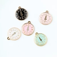 new 20mm 10pcs alice in wonderland round clock pendant for necklace dangle charms for bracelet charm jewelry making accessories