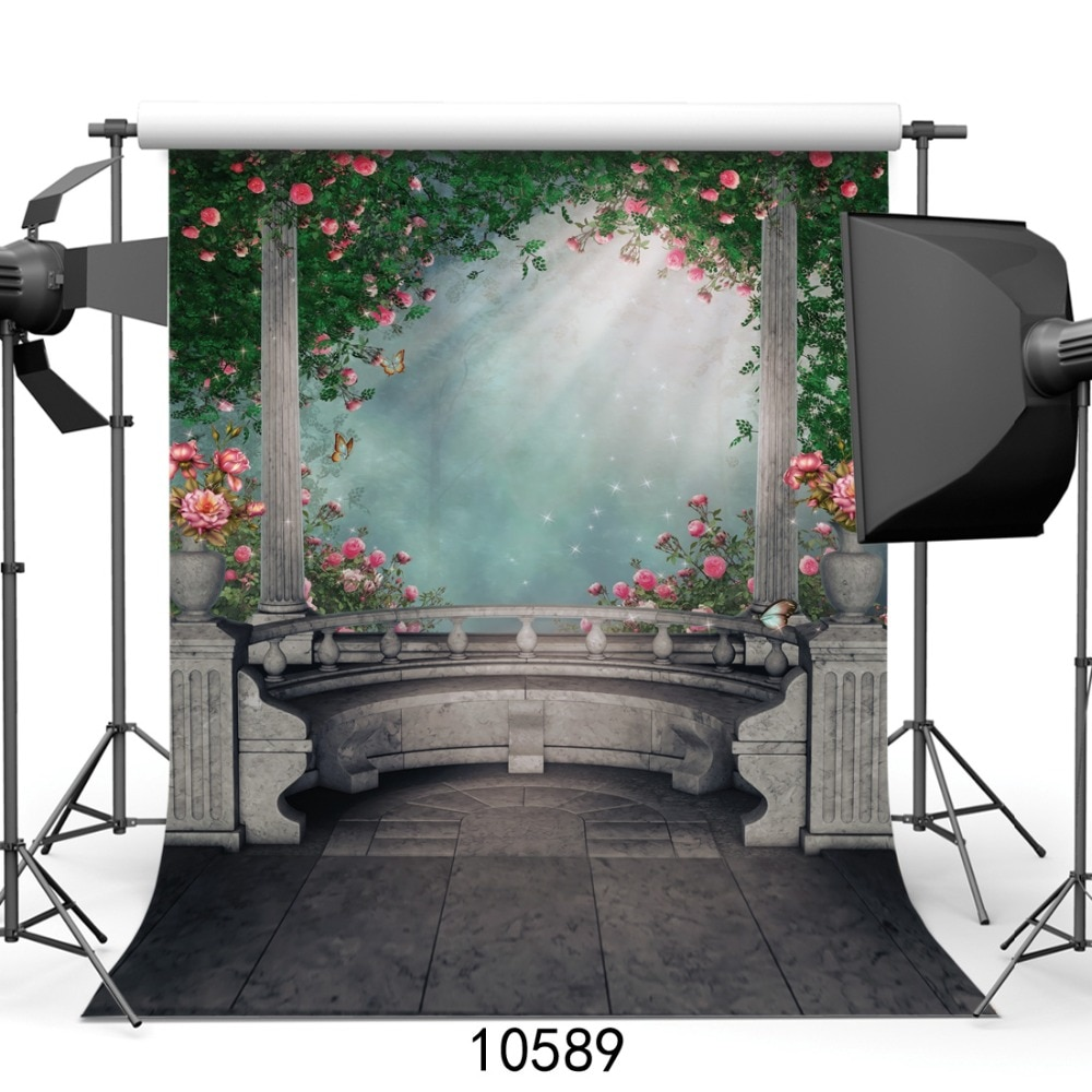 yeele dreamy castle style backdrops for photography pink flowers fairy tale backgrounds birthday party photo vinyl studio props Fairy Tale Balcony Flowers Vinyl Photography Backdrops Portrait Newborn Children Photo Backgrounds for Photo Studio Photobooth
