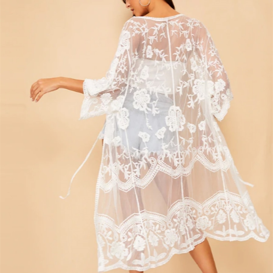 Blusa larga sexi de playa para mujer, cárdigan de encaje Floral transparente para verano, Kimono largo tipo maxicamisa blanca de encaje, Top largo envolvente
