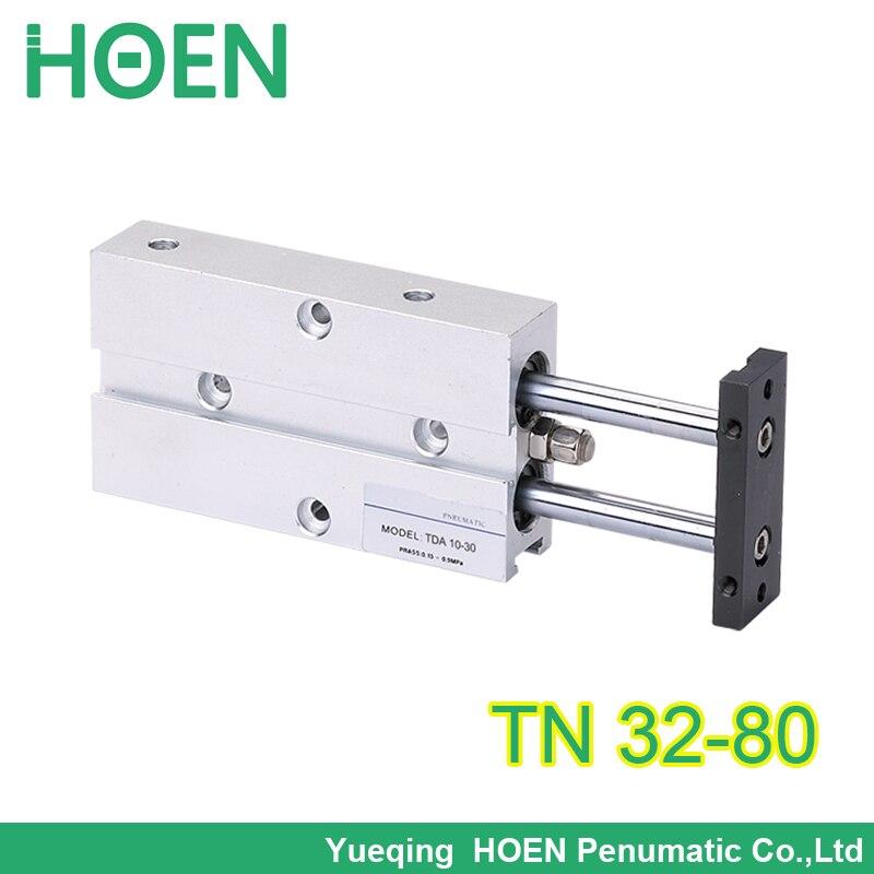 TN/TDA de doble acción de 32mm de diámetro de 80mm de carrera doble barra de aire neumático cilindro td32 * 80 TN32-80 tn 32-80 tn 32*80 32x80 modelo