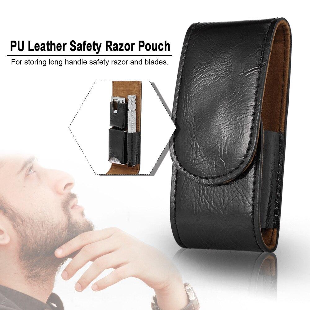 Bolsa de máquina de afeitar de cuero PU para hombres, afeitadora de barba, afeitadora, bolso, bolsa de seguridad, caja de afeitar, bolsa de almacenamiento, soporte de afeitar de doble filo