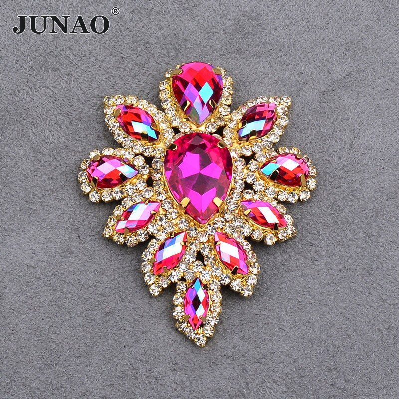 Junao 2 Pc 45*59 Mm Naaien Rose Ab Glas Bloem Rhinestone Gold Claw Crystal Applique Met Instelling Plaksteen strass Naaien Op Stenen