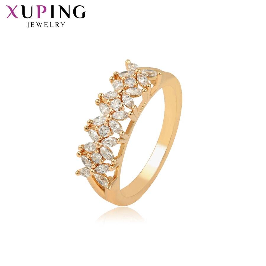 Xuping модное Эфирное кольцо для женщин, позолоченное синтетическое кубическое циркониевое ювелирное изделие, популярный дизайн 16234