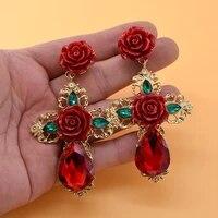 2019 trendy alloy crystal women dangle statement earrings flower long pendant earrings for girl drops bohemian jewelry
