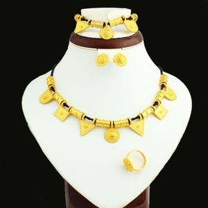 Newest Ethiopian Jewelry Necklace Bracelet Earring Ring Jewelry Set  Kold Plated African Bridal Wedding Habesha Jewelry