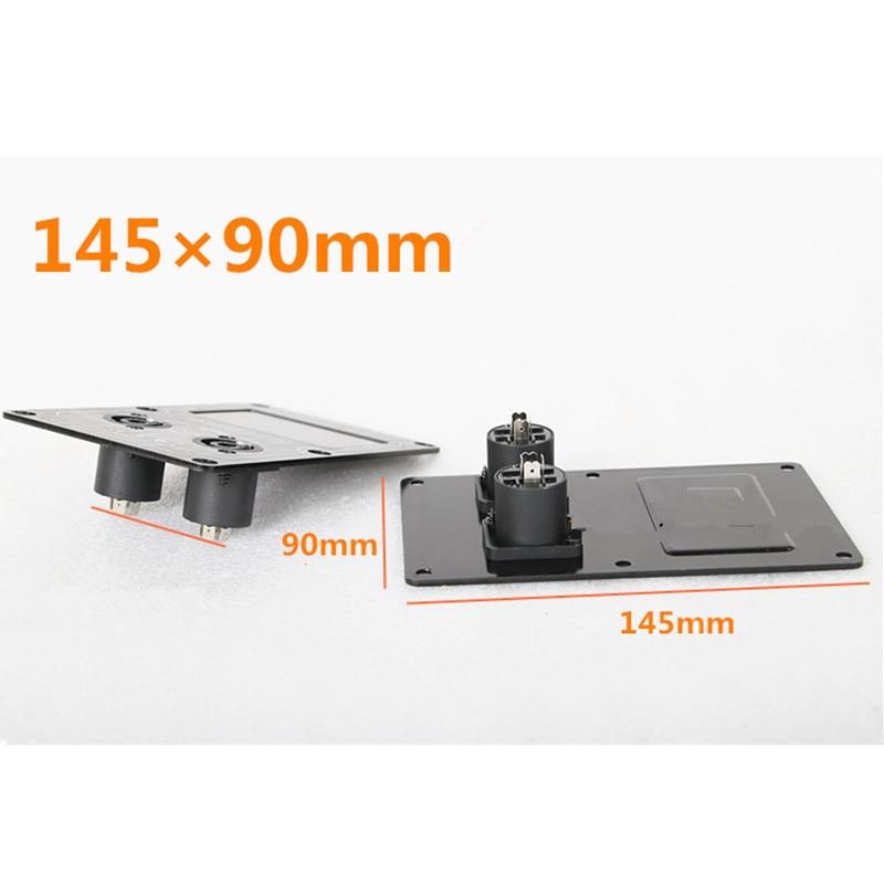 Placa de montaje de caja de conexiones de Audio Placa de cableado de entrada de escenario placa de aluminio integrada doble tarjetero de 4 núcleos hembra 145 × 90mm