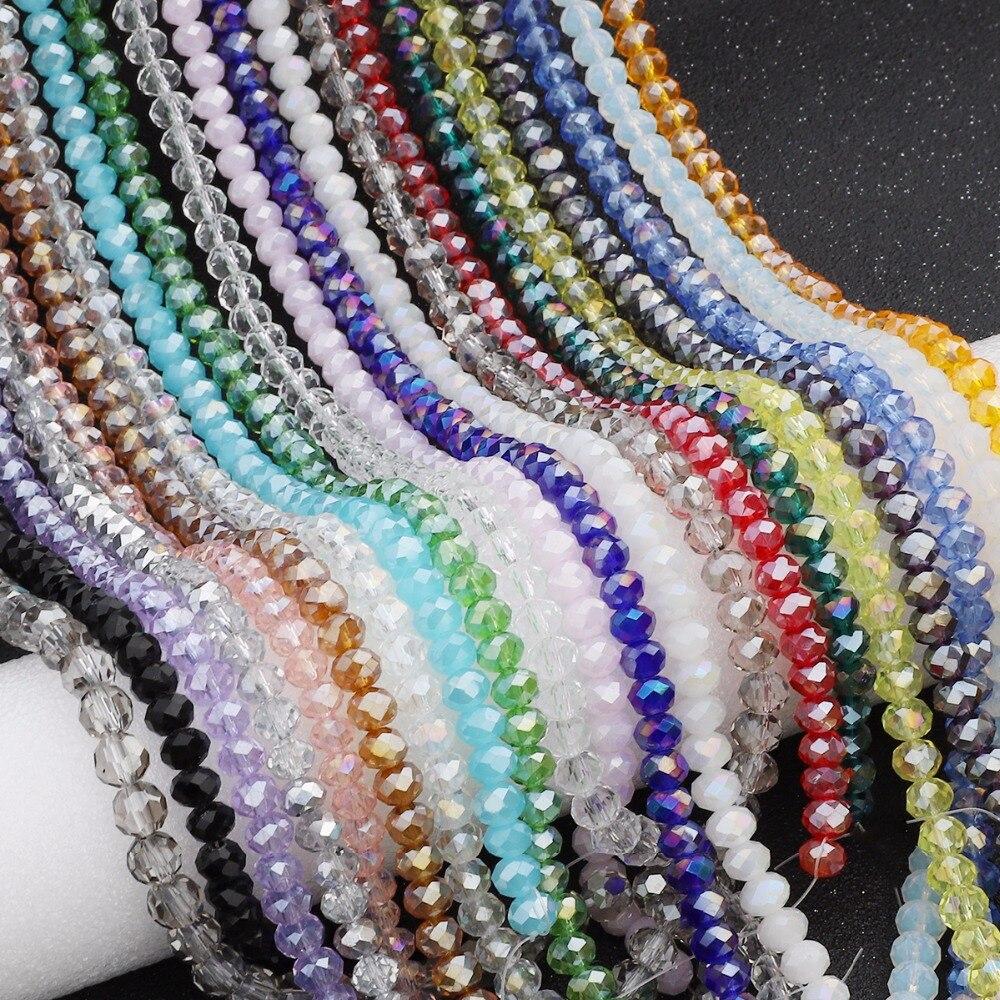 145 unids/lote mezcla 23 colores Rondelle cuentas facetadas de cristal de 4mm perlas de cristal checo para hacer joyería suelto cuenta espaciadora para manualidades costura