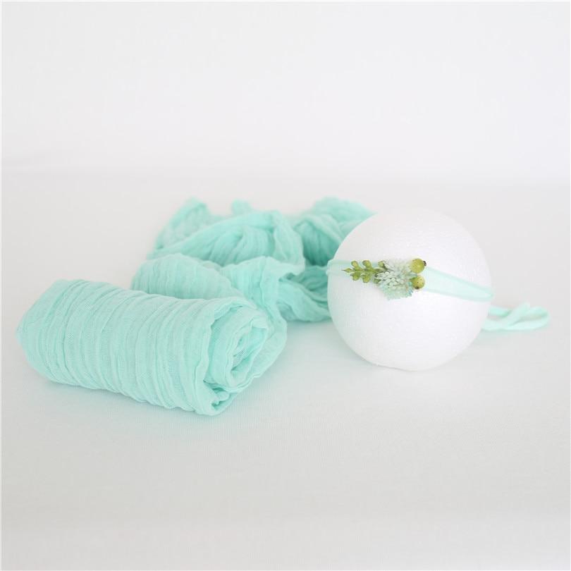 Envoltura para fotografía verde claro, conjunto de envoltura de punto de algodón, capa de posado, tela, manta para bebé recién nacido, accesorios para fotos