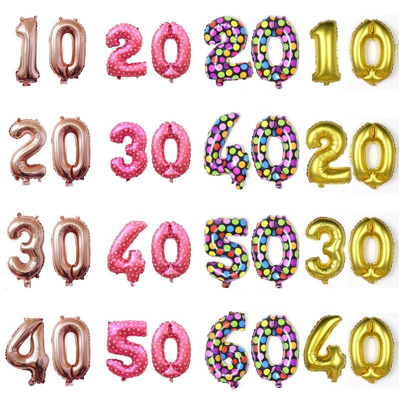 Qisen16inch 10/20/30/40/50/60 aniversário balões da folha de alumínio feliz aniversário balões adultos envelhecido aniversário decoração suprimentos