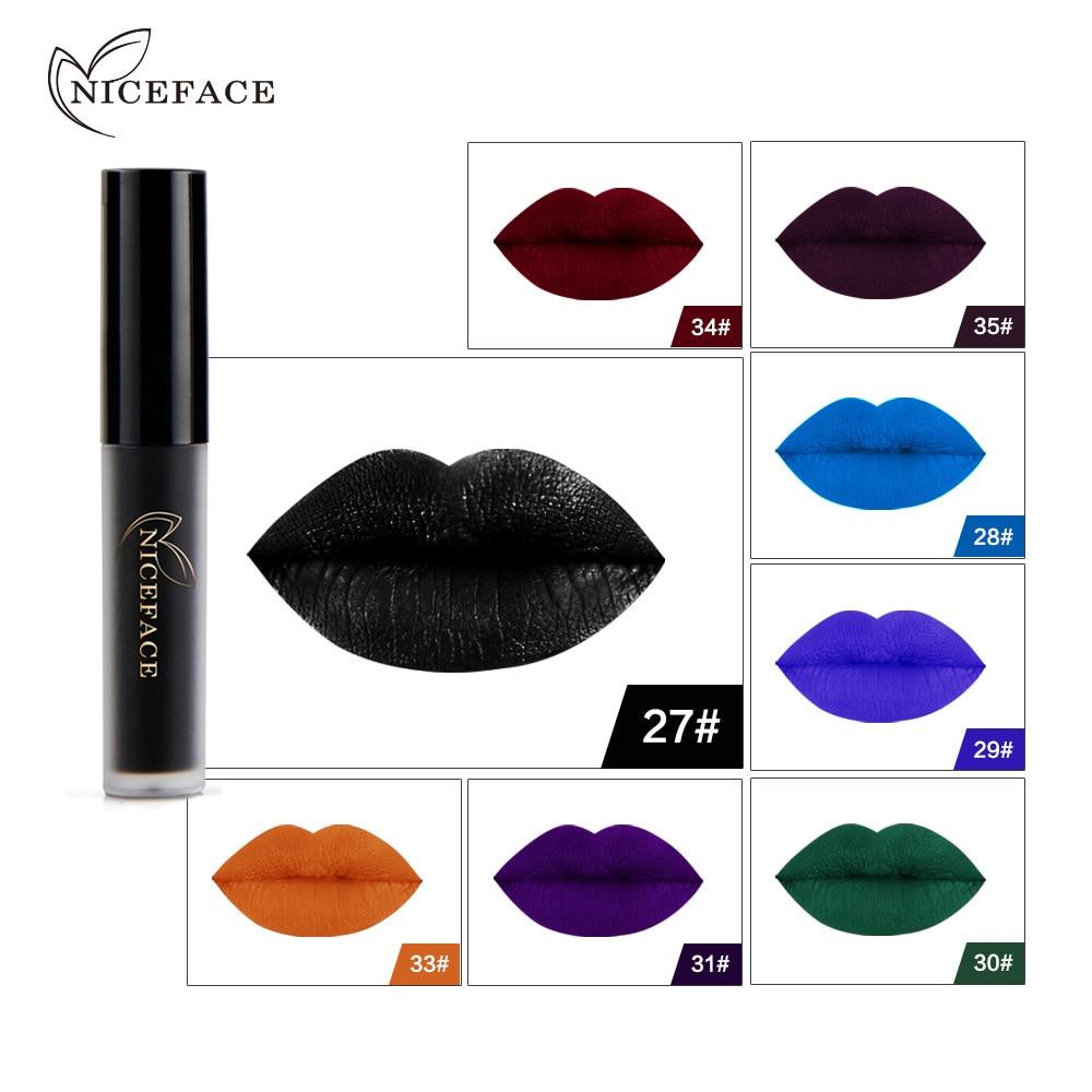 NICEFACE 1 pcs Halloween Mulheres Lábios Cosméticos de Longa Duração Preto Azul Castanho Cores Pigmento Lábios Fosco Batom Líquido Maquiagem