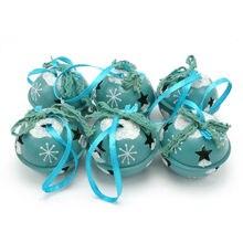 Décoration de noël 6 pièces   Cloches à Jingle brillante en métal bleu 50mm pour maison, décorations darbre de noël en cadeau de noël de vacances