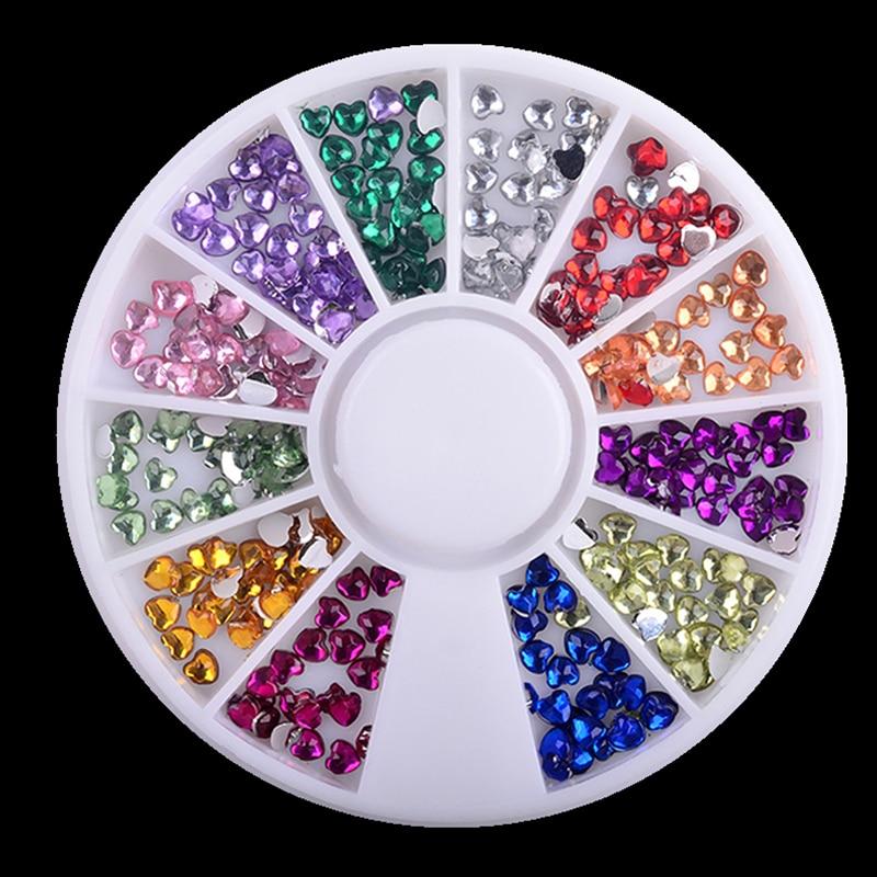 1 Box Love 12 Colors 3MM Rhinestones Nail Art Wheel DIY Nail Stickers Tips Decoration 3D Manicure tools