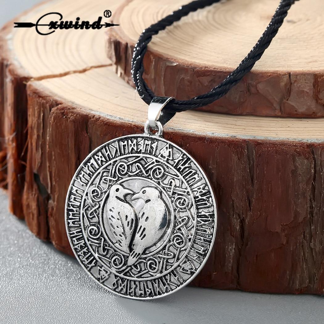 Cxwind, collar con colgante de pájaro vikingo nórdico, colgante con runas, amuleto Vikingo, collar con colgante, joyería de cuerda Nórdica
